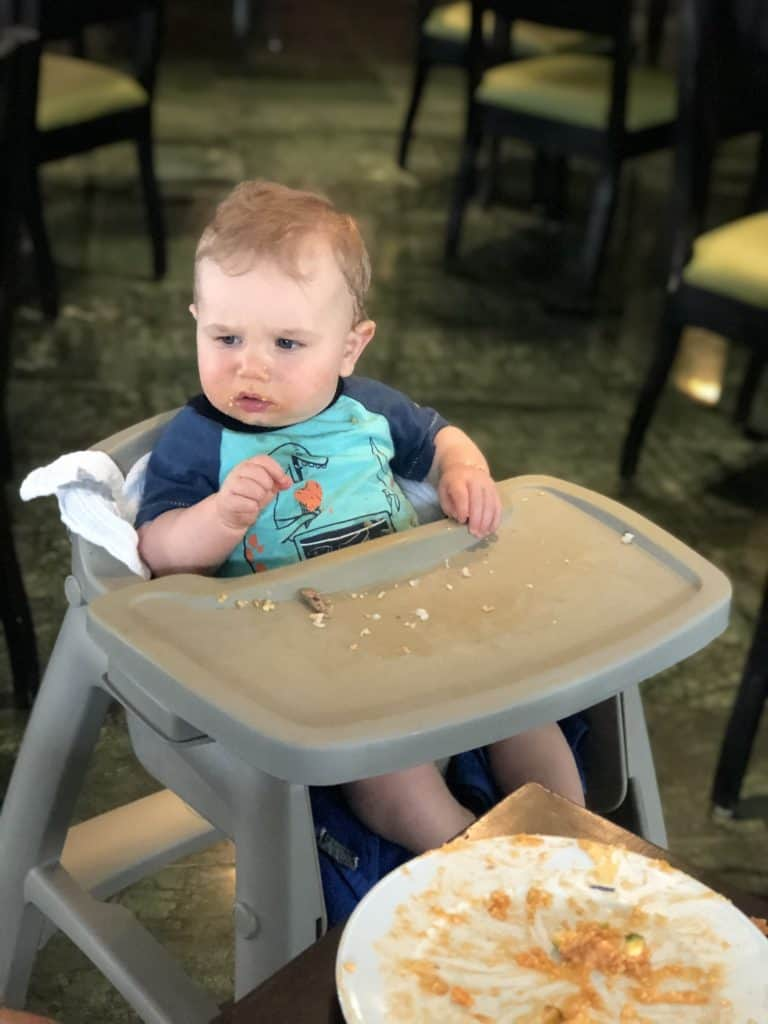 baby eating high chair