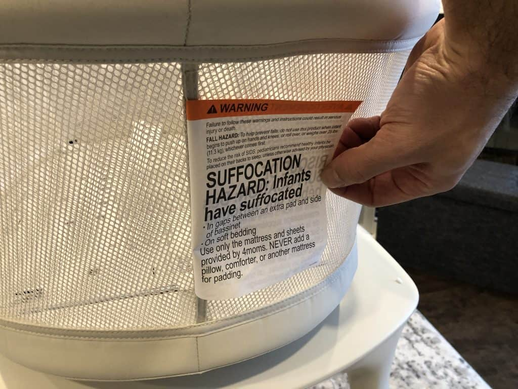 4moms mamaroo sleep bassinet warning tag