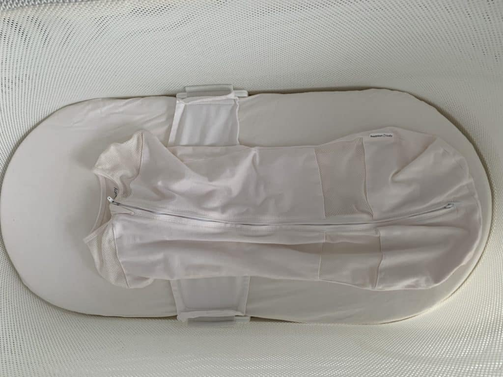 SNOO sack attached to the SNOO bassinet